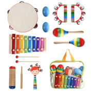 YISSVIC 11Pcs Kids Musical Instruments Xylophone Set Percussion Toy Rhythm Band Set Drum with Carrying Bag