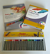 Pentel arts colour pencils coloured pens and pastels Christmas gift set