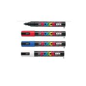 Mitsubishi Pencil [Red,Blue,White & Black Set!!] uni Posca Poster colour marker PC-5M from Japan