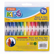 5starwarehouse® 24 Assorted THICK & THIN Fibre Coluring Pens Felt Tips Markers Art Craft - 5star Cloth Included