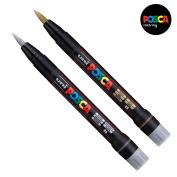 Uni Posca PCF-350 Brush Tipped Paint Marker Art Pen - Fabric Glass Metal Pen - Gold + Silver Set