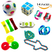 WLX 14 Packs Increase Focus and Relieves Stress Bundle Sensory Twisted Squeeze Fidget Toys Set-Magic Rainbow Ball Cubes/Fidget Toy Cube/Wacky Tracks/Twist Toys/Infinity Cube For Kids and Adults