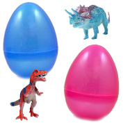 2 Jumbo Toy Filled Easter Eggs With Lifelike Dinosaur Figurines - Delight Kids With T-Rex, And Friends - Ready To Hide - Perfect As Easter Basket Fillers, Kids Party Favours, And Easter Egg Stuffers