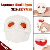 Popping Out Eyes Skull Squeeze Toy,Aritone Squishy Charm Slow Rising Hand Stress Reliever Ball