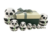 Set of 10 Wooden Handmade Panda Bear With Bamboo Nesting Dolls Matryoshka Russian Doll in a Exquisite Gift Box With Bow For Kids Toy Birthday Christmas New Year Gift Home Decoration