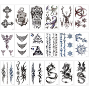 Temporary Tattoo Kit for Adults Kids Women Men(18 Sheets), Konsait Temporary Tattoo Stickers Paper Fake Tattoo Paper Body Sticker Set for Party Favours,Dragon Anchor Eye Deer Head Geometric Vine Chakra