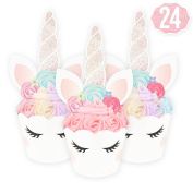 Unicorn Cupcake Toppers + Wrappers | Birthday Party Supplies, Unicorn Horn Cake Decoration + Baby Shower - Set of 24