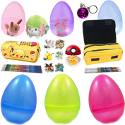 6 Jumbo Easter Eggs With Assorted Premium Pokemon Toys - Colourful, High-Quality Plushes, Figurines, and Toys - Featuring Pikachu And Friends - Perfect As Kids Party Favours and Easter Basket Fillers