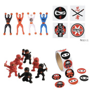 NINJA Warrior PARTY Favours - 36 Tattoos - 12 Figures - 12 WALL Crawlers & 24 Stickers - MARTIAL ARTS - Karate CLASSROOM Prizes