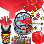 Firefighter Party Supplies Set - 8 Guest - Plates, Cups, Napkins, Cutlery, Tablecloth, Fire Hats, Hanging Swirls, Balloons, Temporary Tattoos - The Ultimate Fire Truck Birthday Party Bundle