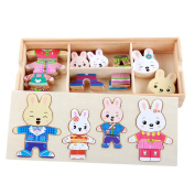 DD Wooden Rabbit Family Dress-Up Puzzle With Storage Case,Mix Match Play Set,Educational Toys for Child Kids Toddlers Baby Boys Girls(72Pcs)