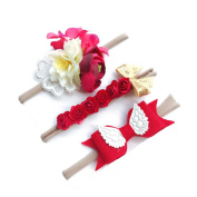 Y56 3Pcs/Set Girl Head accessories Hairband Baby Hair Band, Cute 3Pcs/Set Baby Toddler Infant Flower Headband Stretch Hairband Headwear,Fit 6M-6T Baby
