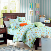 Brandream Blue Kids Bedding Set Animal World Bedding Sets For Boys Girls Soft 100% Cotton Duvet Quilt Cover Set Full Size