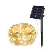 Solar String lights, Relohas 10m 100 LED Silver Wire Outdoor String Waterproof Christmas Lights 8 Modes Solar Powered Fairy Lights for Home,Gardens, Patios,weddings and Parties