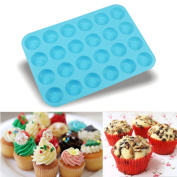 Vibola New Cake Tools Fondant Kitchen Bakeware Silicone Metal Non-Stick 24 Cups Cupcake Baking Tray Mousse Cake Mould Mini Muffin Silicone Soap Cookies Cupcake Bakeware Pan Tray Mould