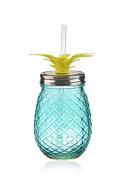 Pineapple Shaped Blue Glass Mason Jar Sipper w/Straw-Lid 470ml…