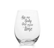 Sip Me Baby One More Time – Cute Funny Stemless Wine Glass, Large 470ml Size, Etched Sayings, Gift Box