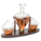 The Wine Savant Diamond Whiskey Decanter l With 2 Diamond Glasses Liquor, Scotch, Rum, Bourbon, Vodka, Tequila Decanter