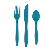Turquoise Plastic Cutlery Set