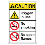 Weatherproof Plastic Vertical ANSI CAUTION Oxygen In Use No Smoking No Open Flames Sign with English Text and Symbol