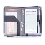 Sonic Server Book and Waiter Waitress Organiser for Waitstaff | Inner Colour Grey | 10 Pockets Holds Guest Cheques, Money, Receipts, Order Pad with Pen Holder Loop