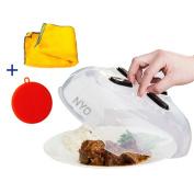 NYO Magnetic Microwave Splatter Lid , New Magnetic Microwave Hover Cover , Large Microwave Plate Cover For Food , Included 2 Bonuses - Better Sponge + Kitchen Towel