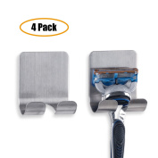 Razor Holder Plug Holder Hook with Self Adhesive - Brushed Stainless Steel
