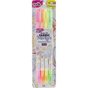 I Love To Create Tulip Dual-Tip Fabric Markers 4/Pkg-Neon, Other, Multicoloured