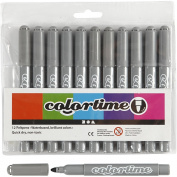 Colortime Marker, 5 mm line, grey, 12pcs