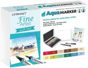 Letraset AquaMarker Gift Set (12 colours + Storage tin + Bleedproof Marker Pad + Blender + Fine Line Drawing Pen) - Fine Artist