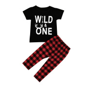 CHshe Baby Clothing Set, Newborn Toddler Boys My Baby/Wild One Tee Top+Plaid Trouser Outfit For 0-3 Years