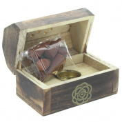 Mini Box Cone Burner - Mango Wood Gold Rose - Including 10 Incense Cones