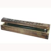 Incense Holder Ash Catcher Box - Mango Wood Gold Rose - Including 10 Incense Sticks