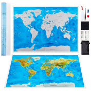 Scratch Off World Map by LETO TG - Personalised Travel Tracker Poster - Blue & White with US States, World Countries + Tools for Easy Erasure - Perfect Gift for Travellers, Interior Decoration