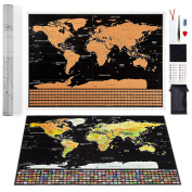 Scratch Off World Map by LETO TG - Personalised Travel Tracker Poster - Black & Gold with US States, World Countries & Scratch Off Flags + Tools for Easy Erasure - Perfect Gift for Travellers