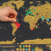 Scratch Off Map – Deluxe Mini World Map Poster – Countries and Facts – Travel Gift