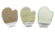 Bath Exfoliating Shower Gloves Health Set! 3 Scrubber Exfoliation Dry Spa Mitts Kit