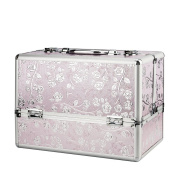AMASAVA Extra Large Space Storage Beauty Box Make up Nail Jewellery Cosmetic Vanity Case Aluminium with key- Pink/ Silver Rose