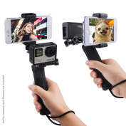 Stabilising Hand Grip for GoPro Hero 5, 4, 3+, 3 with Dual Mount, Tripod Adapter and Universal Phone Holder - Record Videos with 2 Different Camera Angles Simultaneously, Steady Shot Photography, Selfies