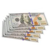 MagiDeal 5pcs Fashion Men's Hundred Dollar US Bill Bifold Canvas Wallets Cash Credit Card ID Holder Purses Funny Gifts