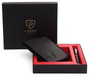 Mens Designer J. Wilson LONDON Genuine Leather Wallet & Ballpoint Pen Gift Boxed Set