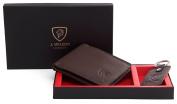 Mens Designer J. Wilson LONDON Genuine Leather Wallet & Keyring Gift Boxed Set
