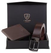 Mens Designer J. Wilson LONDON Genuine Leather Belt + Wallet Gift Boxed Set