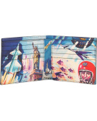 Paul Smith 'Crayon Box Outer Space' Interior Print Black Leather Billfold Men's Wallet ASXC 4832 W830
