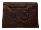 NHL mens NHL Tri-Fold Leather Wallet, Brown