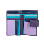 DUDU Large Womens Wallet Purse in Genuine Leather Multi compartment with Zip Coin and Credit card holders Mauve