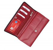 StarHide Women Purse | Ladies Genuine Leather RFID BLOCKING Wallet | High Quality Stylish Flap Over Long Purse With Zipped Pocket | Designed For Up To 9 Credit Cards, Coins And Cash (Red Black) 5560