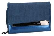 Wallet woman ANTONIO BASILE blue opening with button and coin purse external