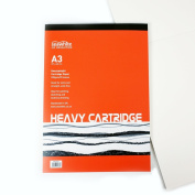 A3 Cartridge White Drawing Paper Pad - 25 Sheets - 220 Gsm Heavy Weight - Ideal for Painting, Sketching and Technical Drawing. Made in UK