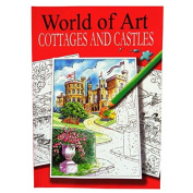 A4 Colour Artist Book - English Cottages and Castles - 24 Illustrated Scenes to Colour - Size 297mm x 210mm